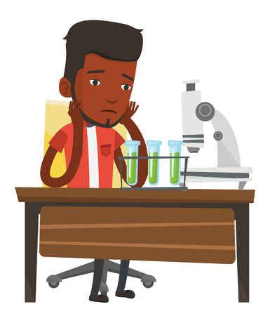 science class: African student clutching head after failed experiment in chemistry class. Disappointed student carrying out experiment in chemistry class. Vector flat design illustration isolated on white background Illustration