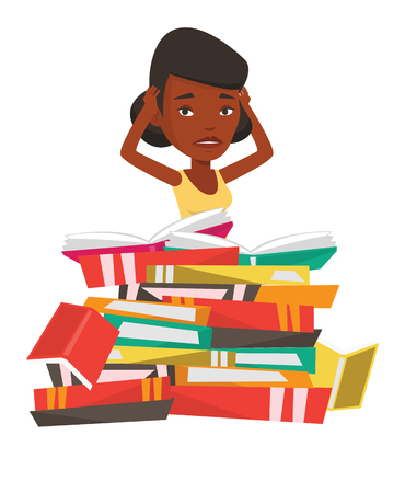 examinations: African-american student sitting in huge pile of books. Tired student read up for examinations with books. Stressed student reading books. Vector flat design illustration isolated on white background.