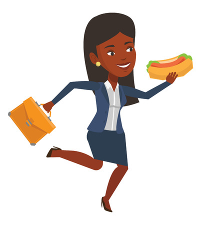 Business woman in hurry eating hot dog. Businesswoman with briefcase eating on the run. Woman in business suit running and eating hot dog. Vector flat design illustration isolated on white background.