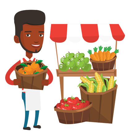 An african-american greengrocer holding basket with oranges. Greengrocer holding basket with fruits. Young happy greengrocer at work. Vector flat design illustration isolated on white background.