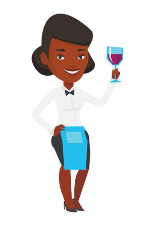 An african-american bartender holding a glass of wine in hand. Bartender looking at glass of red wine. Bartender examining wine in glass. Vector flat design illustration isolated on white background.