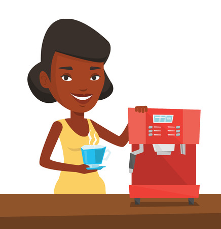 An african-american young woman using coffee-machine. Woman holding cup of hot coffee in hand. Woman standing beside a coffee machine. Vector flat design illustration isolated on white background.  イラスト・ベクター素材