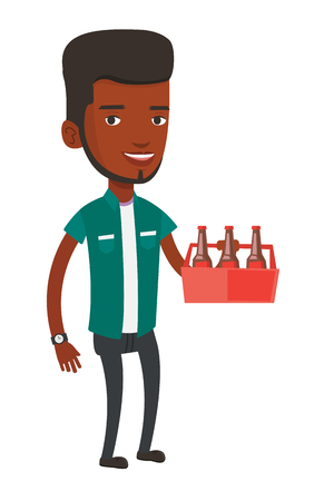 six pack: African-american man buying beer. Young happy man holding pack of beer. Full length of cheerful man carrying a six pack of beer. Vector flat design illustration isolated on white background. Illustration