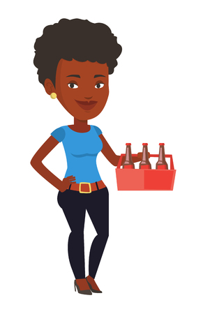 six pack: African-american woman buying beer. Young happy woman holding pack of beer. Full length of cheerful woman carrying a six pack of beer. Vector flat design illustration isolated on white background.