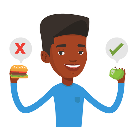 choosing: African man holding apple and hamburger. Man choosing between apple and hamburger. Man choosing between healthy and unhealthy nutrition. Vector flat design illustration isolated on white background.