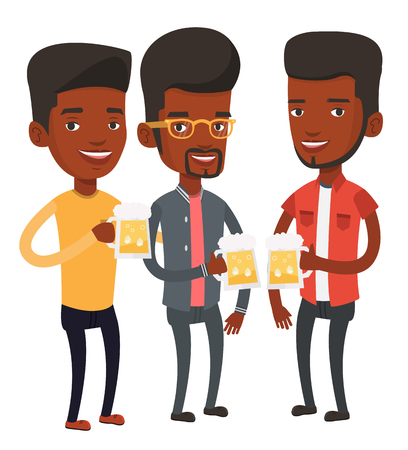 clinking: African-american young friends clanging glasses of beer. Beer fans toasting and clinking glasses. Cheerful friends enjoying a beer at pub. Vector flat design illustration isolated on white background.