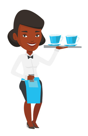 serving tray: African-american waitress standing with tray with cups of hot flavoured coffee. Waitress holding a tray with cups of tea or coffee. Vector flat design illustration isolated on white background. Illustration