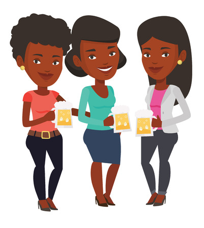 clinking: African-american young women clanging glasses of beer. Beer fans toasting and clinking glasses. Cheerful friends enjoying a beer at pub. Vector flat design illustration isolated on white background.