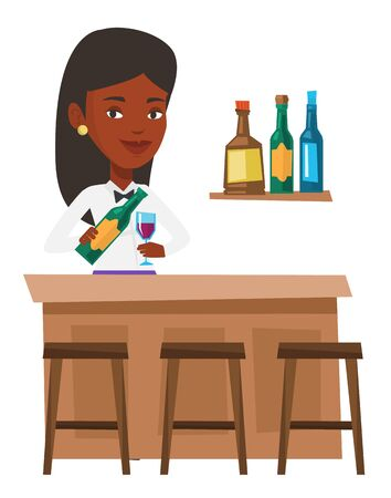 African bartender with bottle of wine and a glass standing at the bar counter. Bartender at work. Bartender pouring wine in a glass. Vector flat design illustration isolated on white background.