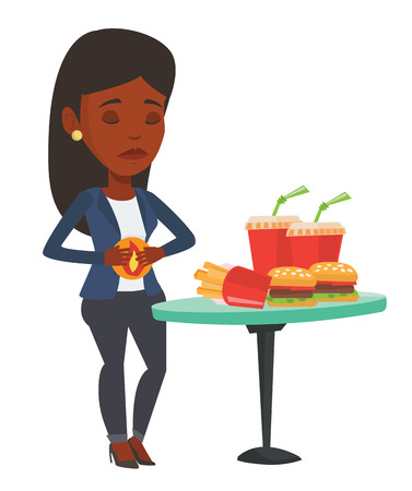 African-american woman suffering from heartburn. Woman having stomach ache from heartburn. Woman having stomach ache after fast food. Vector flat design illustration isolated on white background. Illustration