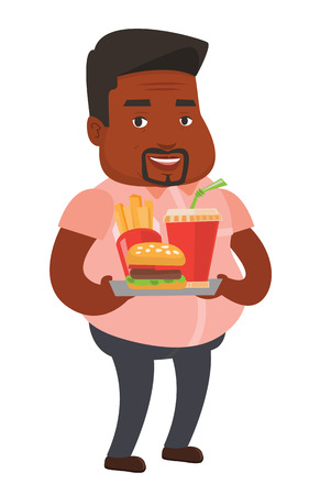 lunch tray: African-american fat man having a lunch in a fast food restaurant. Happy fat man holding tray with fast food. Fat man eating fast food. Vector flat design illustration isolated on white background.