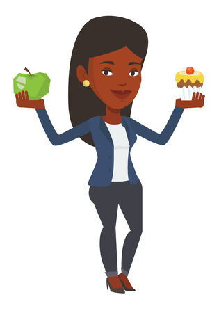 choosing: Woman holding apple and cupcake in hands. Woman choosing between apple and cupcake. Choice between healthy and unhealthy nutrition. Vector flat design illustration isolated on white background.