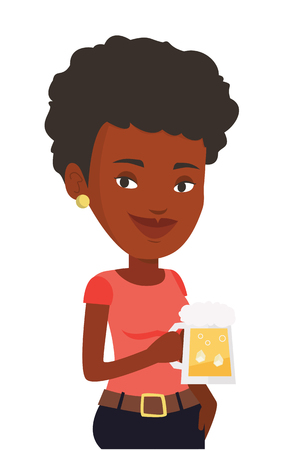 Young african-american woman celebrating with beer. Smiling woman holding a big glass of beer. Full length of female beer fan. Vector flat design illustration isolated on white background. Illustration
