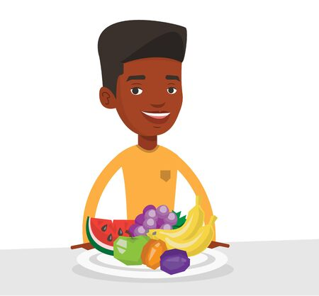 African-american man with plate full of fruits. Young man standing in front of table full of fresh fruits. Man eating fresh healthy fruits. Vector flat design illustration isolated on white background