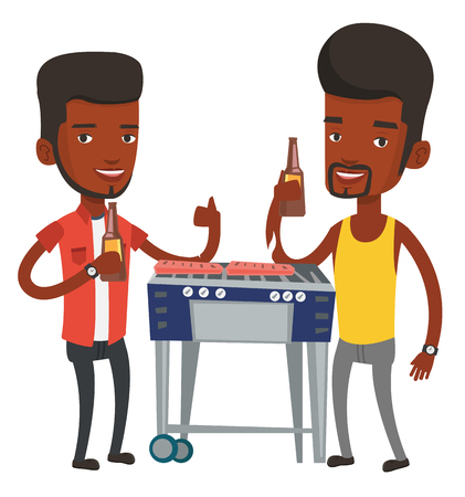 African male friends at barbecue party. Friends preparing barbecue and drinking beer. Group of friends having fun at a barbecue party. Vector flat design illustration isolated on white background. Illustration