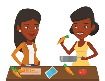 African young women cooking healthy vegetable meal. Women having fun while cooking together healthy meal. Women preparing vegetable meal. Vector flat design illustration isolated on white background. Vectores