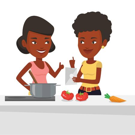 African women following recipe for healthy vegetable meal on digital tablet. Women cooking healthy meal. Women having fun cooking together. Vector flat design illustration isolated on white background