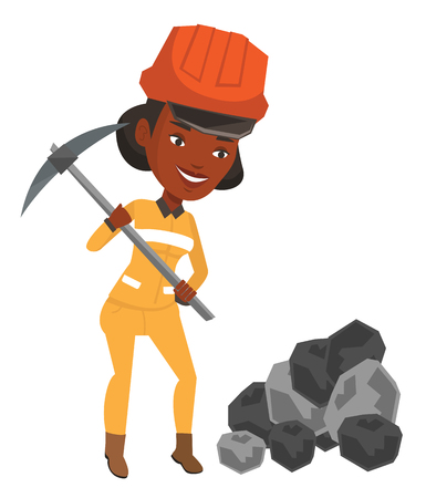 coal mine: African-american miner in hard hat working with a pickaxe. Smiling miner in helmet working at the coal mine. Young miner at work. Vector flat design illustration isolated on white background. Illustration