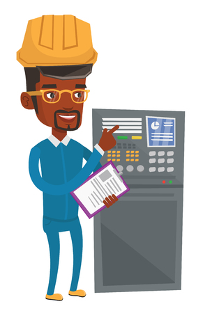 African man working on control panel. Worker in hard hat pressing button at control panel. Engineer standing in front of the control panel. Vector flat design illustration isolated on white background