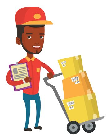 African-american delivery courier with clipboard. Delivery courier pushing cardboard boxes on trolley. Friendly worker of delivery service. Vector flat design illustration isolated on white background Illusztráció