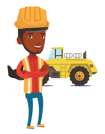 An african-american smiling miner in hard hat standing on the background of a big excavator. Confident miner standing with crossed arms. Vector flat design illustration isolated on white background. Ilustração Vetorial