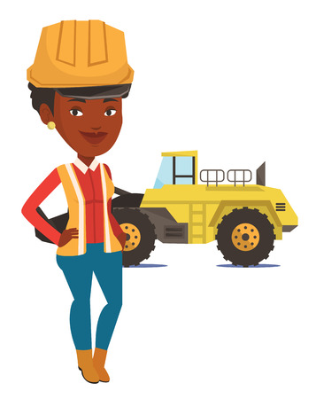 An african-american smiling miner in hard hat standing on the background of a big excavator. Confident miner standing with crossed arms. Vector flat design illustration isolated on white background. Stock Illustratie