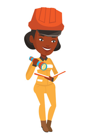 checking: An african-american smiling miner checking documents with the flashlight. Female mine worker in hard hat. Mine worker at work. Vector flat design illustration isolated on white background.