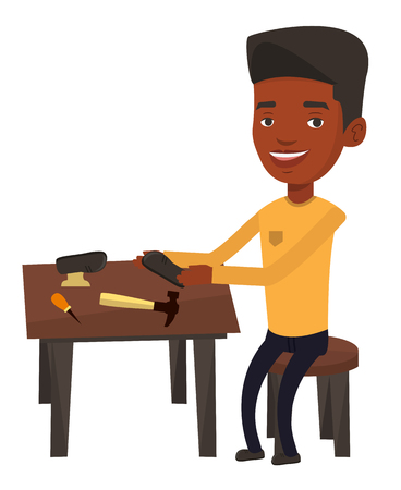 African shoemaker repairing a shoe in workshop. Shoemaker working with a shoe in workshop. Shoemaker making handmade shoes in workshop. Vector flat design illustration isolated on white background.