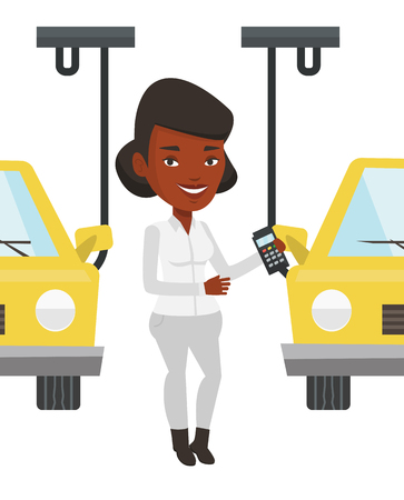 controlling: African-american worker of car factory. Smiling engineer at work on car factory. Worker controlling automated assembly line for cars. Vector flat design illustration isolated on white background.