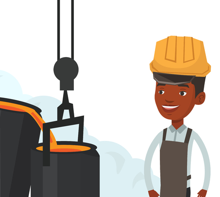African steelworker at work in the foundry. Steelworker controlling iron smelting in the foundry. Steelworker in steel making plant. Vector flat design illustration isolated on white background. Çizim