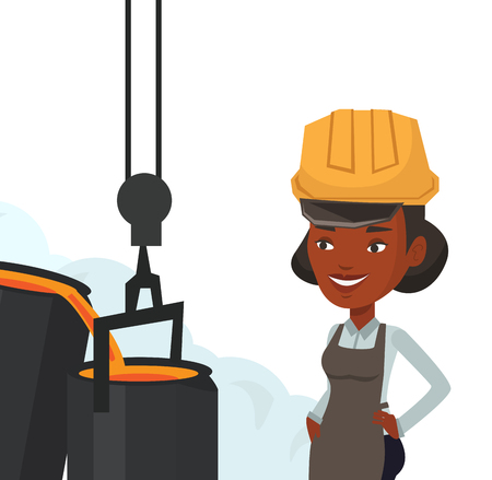 African steelworker at work in the foundry. Steelworker controlling iron smelting in the foundry. Steelworker in steel making plant. Vector flat design illustration isolated on white background. Stock Illustratie
