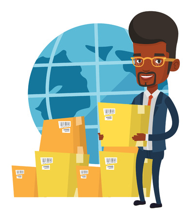 African businessman holding cardboard box. Happy businessman working in international delivery service. Concept of international delivery. Vector flat design illustration isolated on white background.