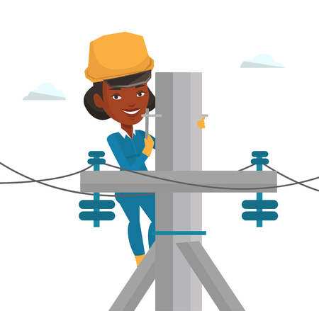 African electrician working on electric power pole. Electrician at work on electric power pole. Electrician repairing electric power pole. Vector flat design illustration isolated on white background. Illustration