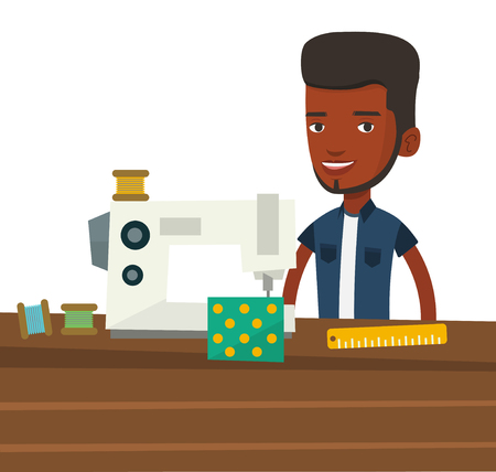 seamstress: African seamstress working in cloth factory. Male seamstress sewing on industrial sewing machine. Male seamstress using sewing machine. Vector flat design illustration isolated on white background. Illustration