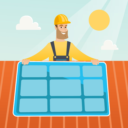 Caucasian technician installing solar panels on roof. Technician in inuform and hard hat checking solar panel on roof. Technician adjusting solar panel. Vector flat design illustration. Square layout. Çizim