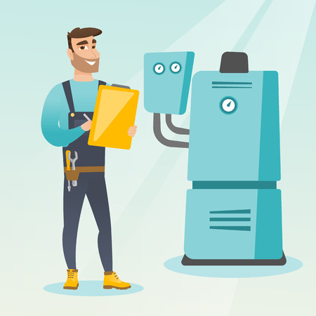 heating engineers: Caucasian plumber making some notes in his clipboard. Plumber inspecting heating system in boiler room. Widely smiling plumber in overalls at work. Vector flat design illustration. Square layout.