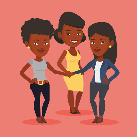 Group of african business women joining hands. Business people putting their hands together. Business women stacking their hands. Partnership concept. Vector flat design illustration. Square layout Ilustrace