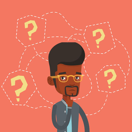 young businessman: Young businessman thinking vector illustration.