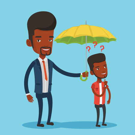 black man thinking: Businessman holding umbrella over young man. Illustration