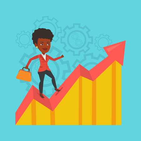 Business woman standing on growth graph. Illustration