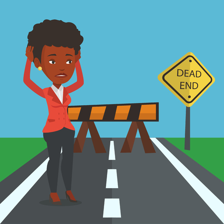 Business woman looking at road sign dead end.  イラスト・ベクター素材