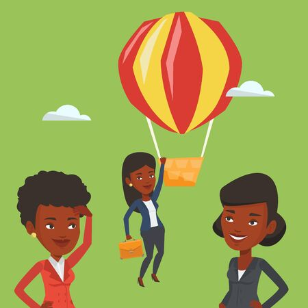 away travel: Business woman hanging on balloon.