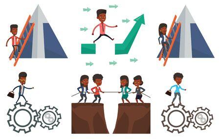 Vector set of business characters. Stock Illustratie