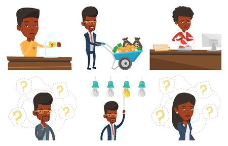 black man thinking: Vector set of business characters. Illustration