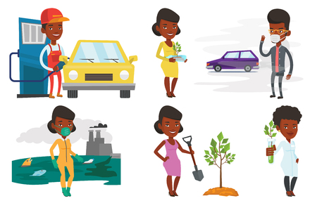 Vector set of characters on ecology issues.