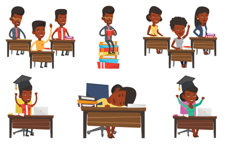 Vector set of student characters. Illustration
