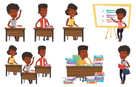 Vector set of student characters. Stock Illustratie