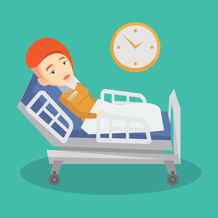 Caucasian sad woman wearing cervical collar and suffering from neck pain. Female patient with injured neck lying in bed. Young woman with neck brace. Vector flat design illustration. Square layout. Illustration