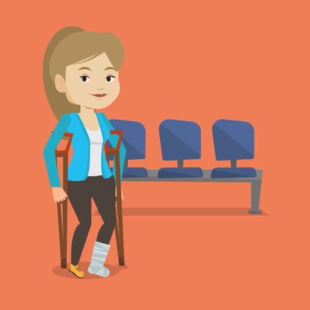 An injured caucasian woman with leg in plaster. Young woman with broken leg using crutches. Smiling woman with fractured leg. Vector flat design illustration. Square layout.  イラスト・ベクター素材