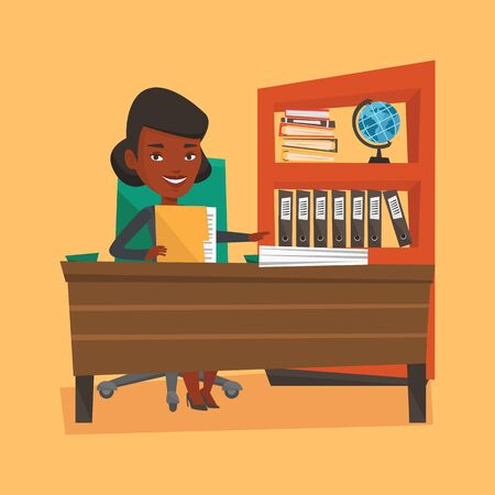 happy office: An african-american happy office worker working with documents. Office worker sitting at the table with documents. Office worker inspecting documents. Vector flat design illustration. Square layout.